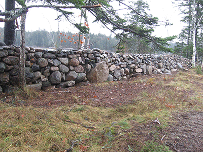 a dry laid stone wall